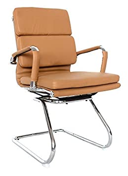US Office Elements Classic Replica Visitors Chair – Vegan Leather, Thick high Density Foam, Chrome arms with Protective arm Sleeves with Zip Available. Camel