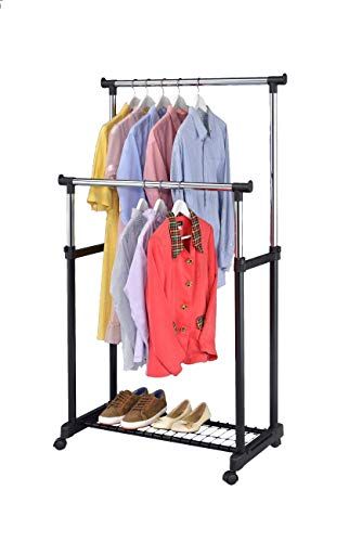 Finnhomy Double Rail Adjustable Rolling Garment Rack with Bottom Shelf - Clothes Hangers with Wheels - Rolling Clothes Organizer, Black and Chrome