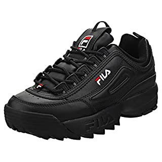 Fila Unisex Disruptor II Premium Leather Synthetic Black White Red Trainers 11.5 W / 10 M US