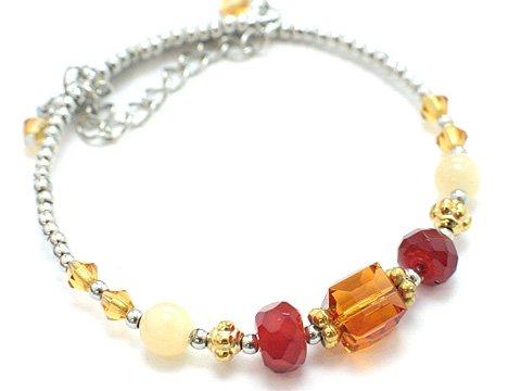 Two Tone Flex Bracelet - Two-Tone Brown Topaz Crystal Silver Coil Bracelet