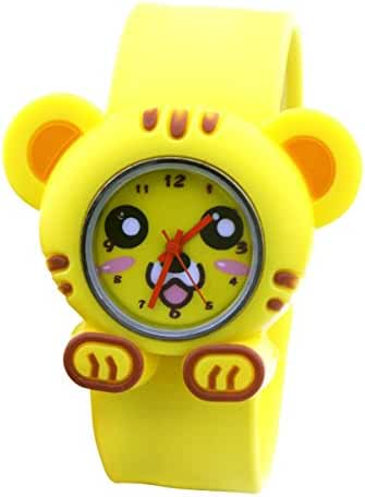 Cartoon Yelllow Tiger Unisex Kids Water-resistant Sports Watch Bendable Rubber Strap Wrist Watch