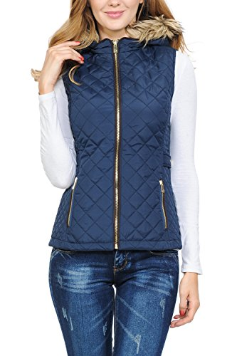 (Auliné Collection Womens Quilted Zip Up Lightweight Padding Vest Fur Hood ZP Navy S)