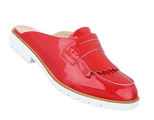 Damen Sandalen Schuhe Strandschuhe Sommerschuhe Pantoletten Slipper Rot