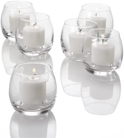 Set Of 72 Petite Hurricane Votive Candle Holders Clear Glass Amazon Co Uk Kitchen Home