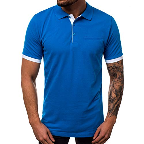 Wishere Mens Fashion Slim Fit T-Shirt Cotton Striped Long-Sleeved Casual Polo Shirt Pure Blue ()