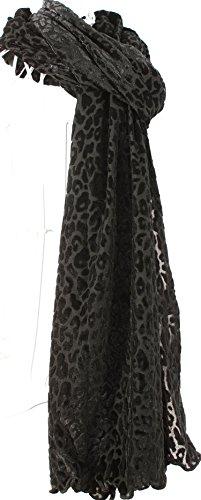 Black Leopard Scarf (Black Velvet Leopard Design Scarf)