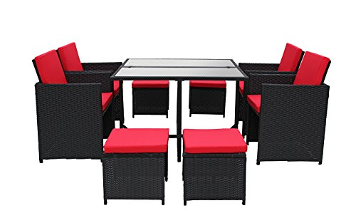 Modern 8 Piece Space Saving Outdoor Furniture Dining Set, Patio Rattan Table and Chairs Set (Black / Red)