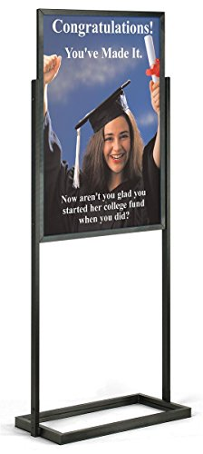 Displays2go Double-Sided Poster Display Stand for 24 x 36 Inches Graphics, Slide-in Design - Black ()