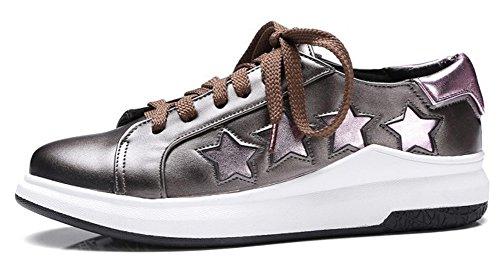 Mofri Women's Trendy Stars Round Toe Low Top Platform Lace up Skate Sneakers Gun 9 B(M) US