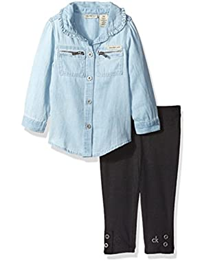 Baby Girls' Shirt Tunic with Leggings Set