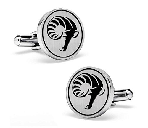 Rhode Island Rams Cufflinks | 19mm Sterling Silver Round Top Cufflinks by College Jewelry