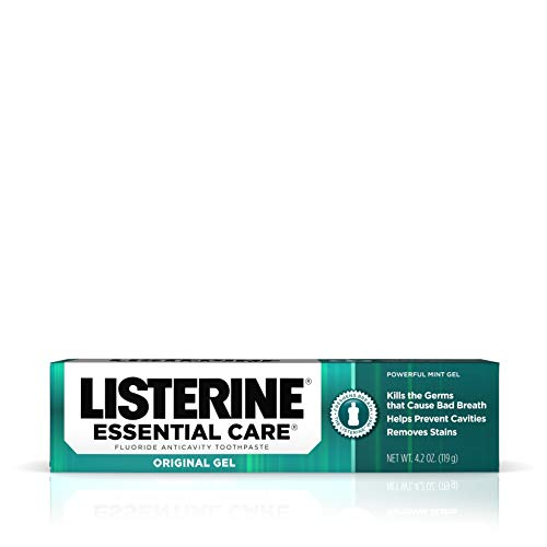 (Listerine Essential Care Original Gel Fluoride Toothpaste, Prevents Bad Breath and Cavities, Powerful Mint Flavor for Fresh Oral Care, 4.2 oz, Pack of 6)