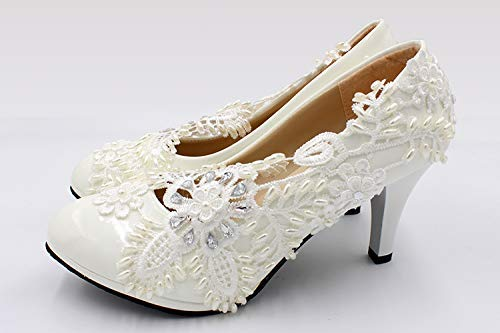 6ee02c450eab69 Image Unavailable. Image not available for. Color  Handmade Women Fashion White  Lace Wedding shoes ...