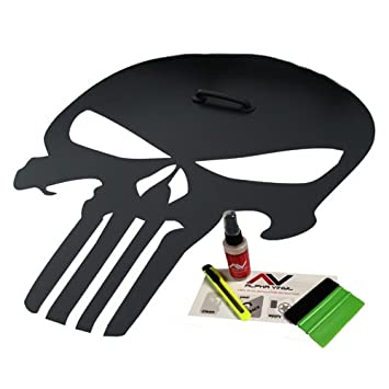 Amazoncom Hood Decal Punisher Skull Blackout Matte Black W - Jeep hood decalsmatte black jeep hood decal