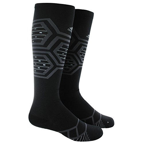 adidas Energy Running Single Socks, Black/Solar Green/Reflective Silver, Large (Adidas Elite Sock)