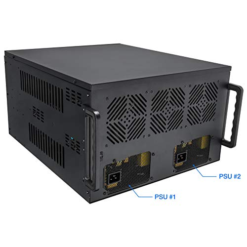 Rosewill 8 GPU Mining Case Frame - Mine Cryptocurrency Bitcoin (BTC)/Ethereum (ETH/ETC)/Zcash/Monero & More Altcoins, Dual PSU Miner Rig, Max Airflow for Extended GPU Life