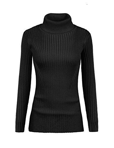 v28 Women Stretchable Turtleneck Knit Long Sleeve Slim Fit Bodycon Sweater(Small / 4-6, Turtblack) (Womens Turtleneck Ribbed)