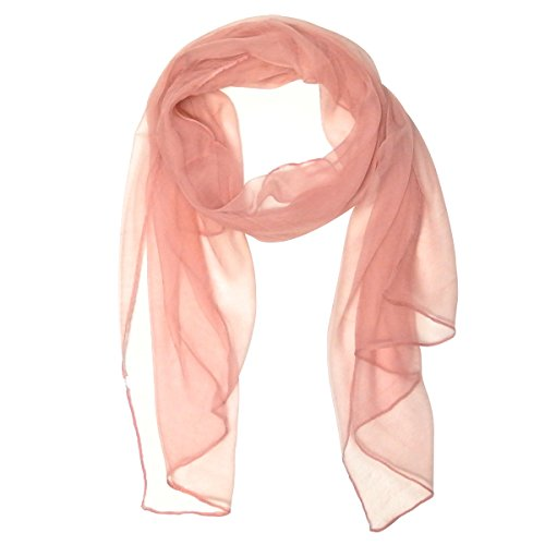 (Wrapables Solid Color 100% Silk Long Scarf, Pink)