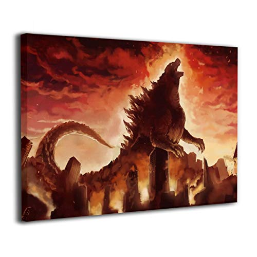 Little Monster Kaiju Godzilla Angry Fire Burning Inner Framed Painted On Canvas Wall Decorations Funny Art for Child Bedroom