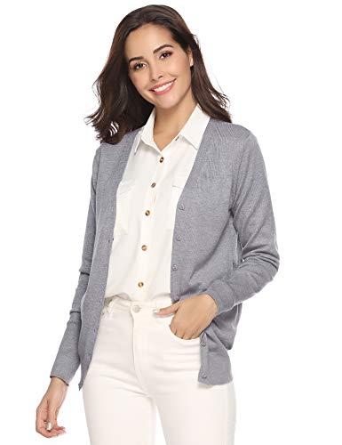 cl con punto de punto de Chaqueta mujer manga Jersey larga Jersey botones Bolero de Chaleco elegante Jersey para dT8dIgq