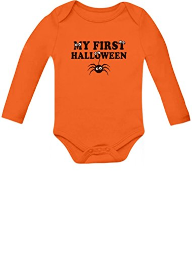 Tstars My First Halloween Baby Boy/Girl Cute Spider Baby Long Sleeve Bodysuit 12M Orange -