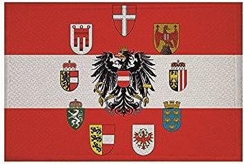 U24 Aufnäher Österreich Mit 9 Bundesländer Wappen Fahne Flagge Aufbügler Patch 9 X 6 Cm Auto