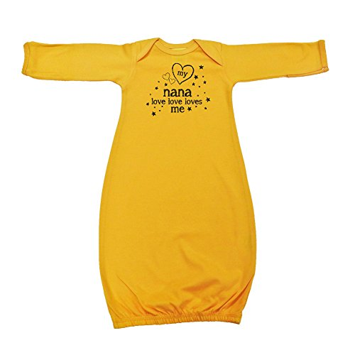 We Match! Unisex Baby - My Nana Love Love Loves Me Baby Bodysuit (19 Colors Available) (Gown-Gold, - Me Color Nana