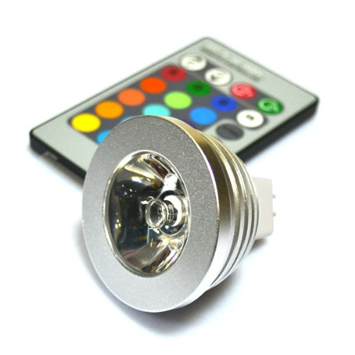 Delicate Mr16 3w RGB LED 16 Colors Changing Light Lamp with Remote Control Ac / Dc 12v - 12v Ac Mr16 Lamp
