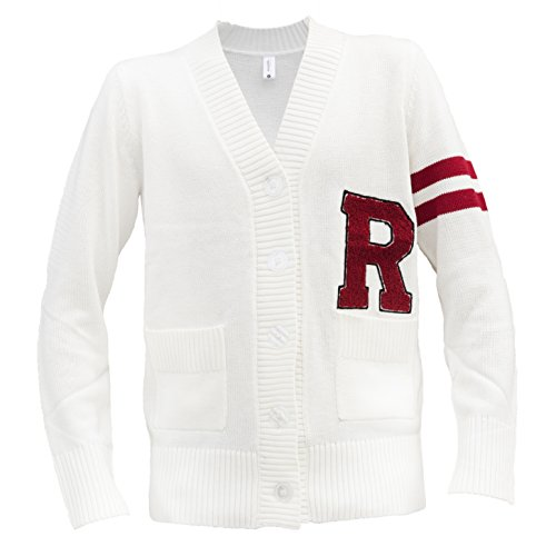 Hip Hop 50's Shop - Mens 1950s R Letterman Cardigan Sweater (3XLarge, Ivory) Roll Sleeve Cardigan