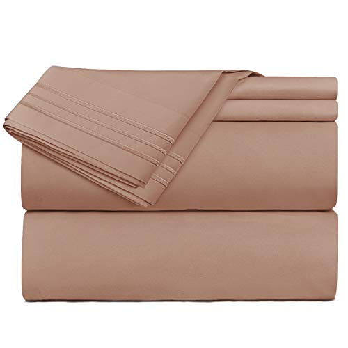 (Nestl Bedding 4 Piece Sheet Set - 1800 Deep Pocket Bed Sheet Set - Hotel Luxury Double Brushed Microfiber Sheets - Deep Pocket Fitted Sheet, Flat Sheet, Pillow Cases, RV/Short)
