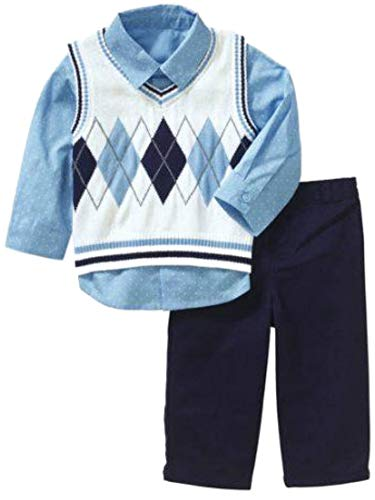 George Infant Boys Blue Argyle 3 Piece Dress Up Outfit Shirt Vest & Pants Set 12m