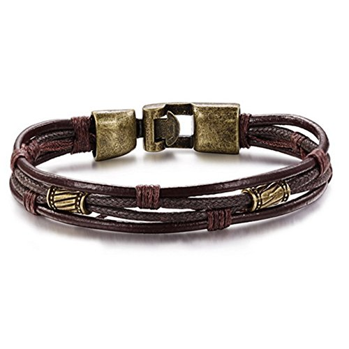 Burning Love Retro Braided Leather Bracelet for Men Rope Wrist band Size...