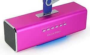 MusicMan MA Loudspeaker (MP3-Player, Soundstation & Radio, USB, Line-in) Pink