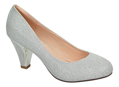 Chic Feet Ladies New Glittery Wedding Party Prom Evening Mid Diamante Heel Courts Silver