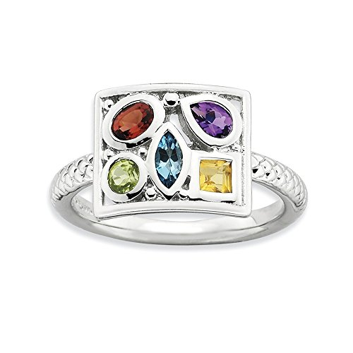 Rhodium Plate Sterling Silver & Gemstone Stackable Collage Ring, Sz 8