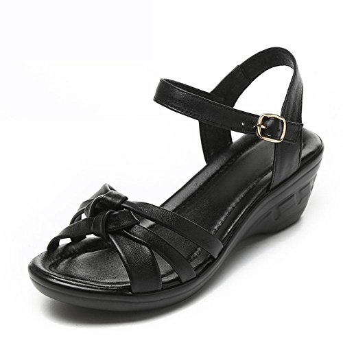 Girls L@YC Women 'S Sandals Summer Slope With Large Size Shoes Leather Leather Soft Skid Comfortable Dress Shoes , black , 37