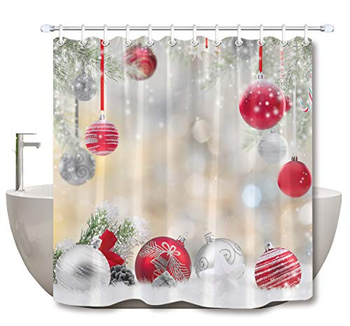 LB Christmas Shower Curtain Set Cedar Snowflake Fashion Red Silvery Balls Bathroom Curtain with Hooks,Xmas Holiday Decorations 72x72 inch Waterproof Polyester Fabric Bathtub Curtain -