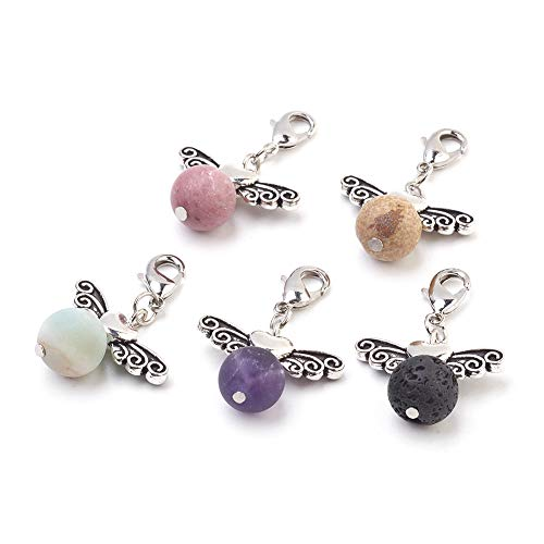 Fashewelry 50Pcs Mixed Natural Gemstone Dangle Angel Pendants with Antique Silver Angel Beads & Lobster Clasps 34mm ()