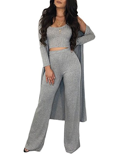 Sleeveless Tank Crop Top + Bell Bottom Pants + Matching Long Sleeve Cardigan 3 Piece Outfit for Young Ladies Gray 1X