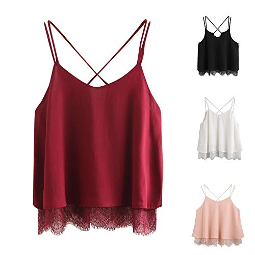 - TOTOD Camis Tank Tops, Women's Chiffon Lace Patchwork Blouse Sleeveless Crop Top Vest Plain Shirt (Wine Red, XL)