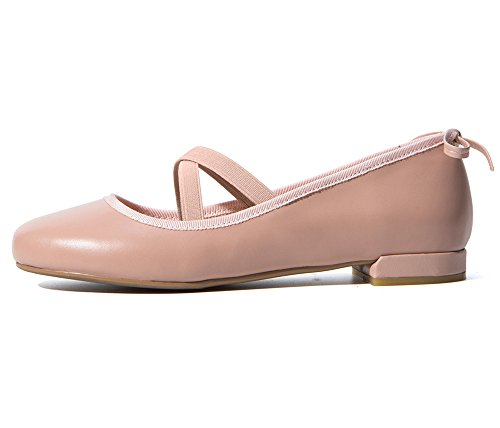 Negen Zeven Koe Lederen Dames Meisjes Vierkante Teen Platte Hak Mary Jane Strappy Handgemaakte Ballet Flats Roze
