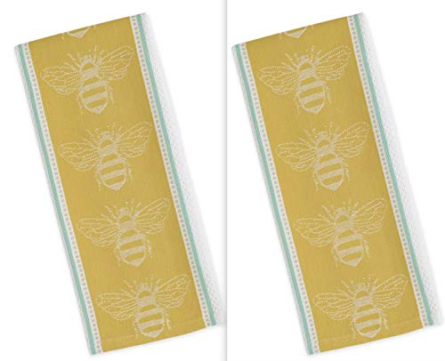 Design Imports DII Honey Bee Jacquard Dish Towels - Set of 2 - - Jacquard Towel Dish