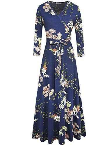 Aphratti Women's 3/4 Sleeve Faux Wrap V Neck Floral Vintage Long Maxi Dress Large - Long Cotton Wrap Sleeve