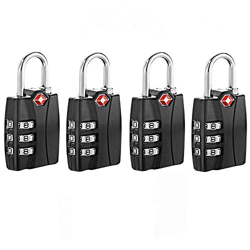 TSA Approved Travel Luggage Backage Locks With Open Alert Travel Security 3 Digit Combination Password Locksfor Suitcases- 4 Pack Black by Zhovee