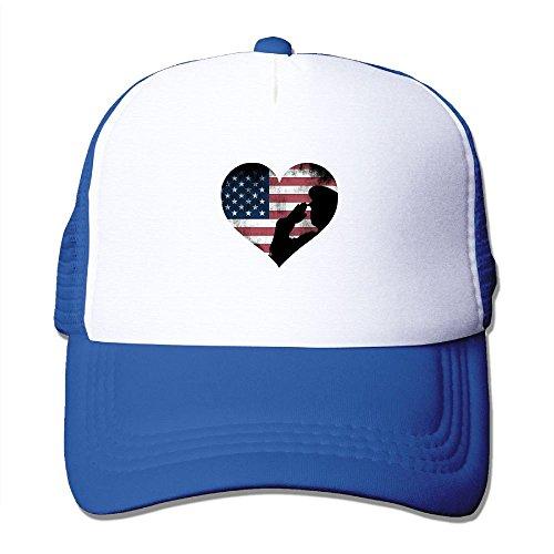 Soldier Military Salute US Flag Snapback Mesh Cap Hat Casual Baseball Trucker Cap]()