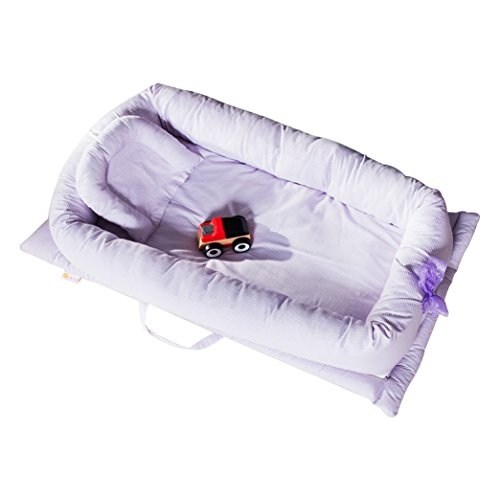 Nest Baby Shop - CC Shop Newborn Portable Foldable Crib Multifunctional Nursery Bed Baby Nest for Travel (Purple Stripe)