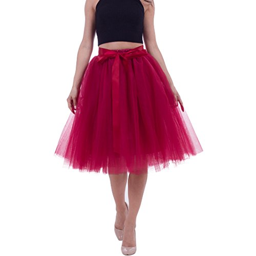 Macola Puffy Tutu Skirts, Women Tulle Skirts Multi-Layer Midi Princess Tutu Skirt for Wedding Prom Party Dress (Wine red) by Macola