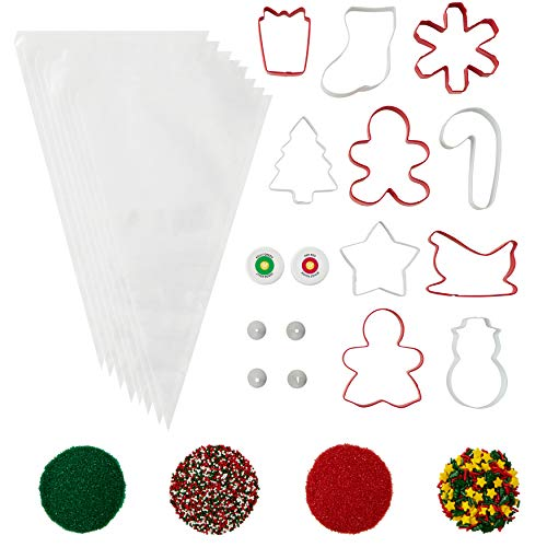 Wilton Holiday Cookie Cutter and Decorating Set, 24-Piece - Holiday Cookie Decorating Kit, Holiday Cookie Cutters, Holiday Icing, Holiday Sprinkles