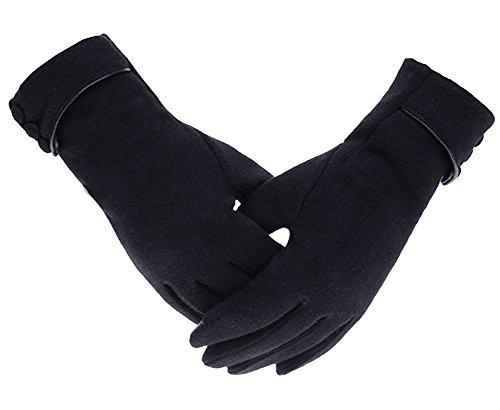Wmcywell Womens Touch Screen Phone Fleece Lined Winter Warm Windproof Gloves Black (Fleece Gloves Purpose)