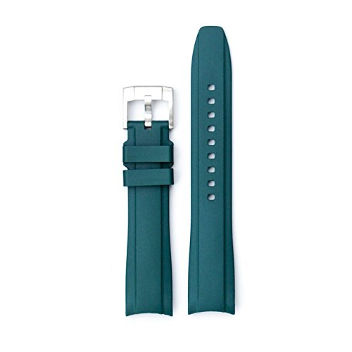 Everest Green Curved End Rubber Watchband w/ Buckle for Rolex Sports Models by Everest Horology Products
